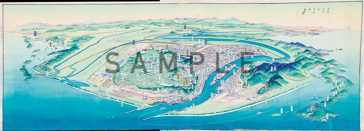 港都石巻市鳥瞰図